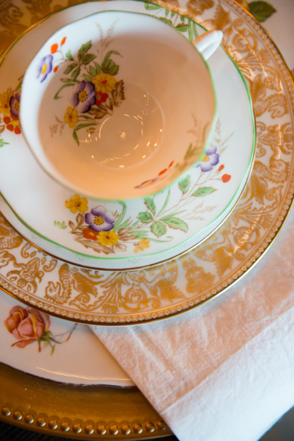Fall wedding inspiration at Birmingham Alabama loft venue The Up and Up featuring Tea and Old Roses vintage china, tableware, and flatware rental. You will not find more beautiful wedding rentals in Alabama.