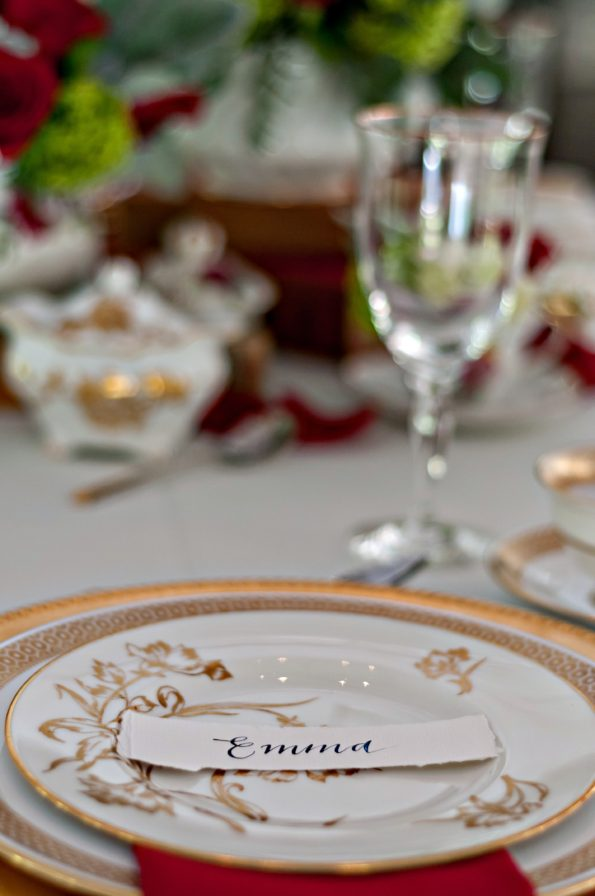 Beauty and the Beast inspired wedding shoot at the Sterling Castle in Alabama, featuring Tea and Old Roses vintage china, flatware, and glassware rental. You will not find more beautiful wedding rentals in Alabama.