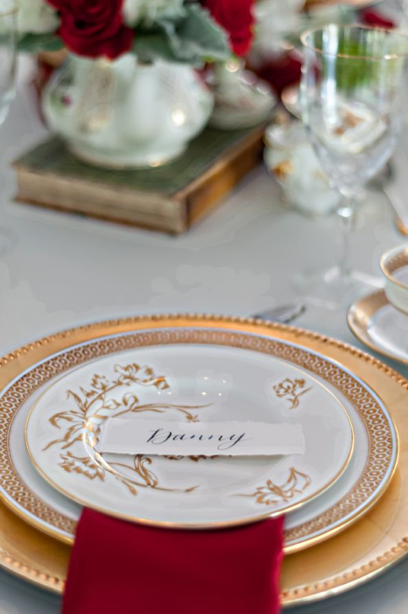 Beauty and the Beast inspired wedding shoot at the Sterling Castle in Alabama, featuring Tea and Old Roses vintage china, flatware, and glassware rental. You will not find more beautiful wedding rentals in Alabama. Our wedding and event rentals will make your event truly unique!