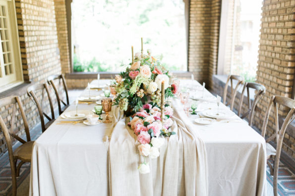 Autumn inspired wedding shoot at Clubhouse on Highland in Birmingham, Alabama featuring Tea and Old Roses vintage china, glassware, and flatware. You will not find more beautiful wedding rentals in Alabama.