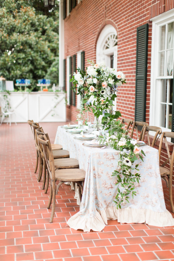 Classic southern wedding inspiration at the Hoover Randle Home in Birmingham, Alabama featuring Tea and Old Roses vintage china and glassware. You will not find more beautiful wedding rentals in Alabama. Our wedding and event rentals will make your event truly unique!