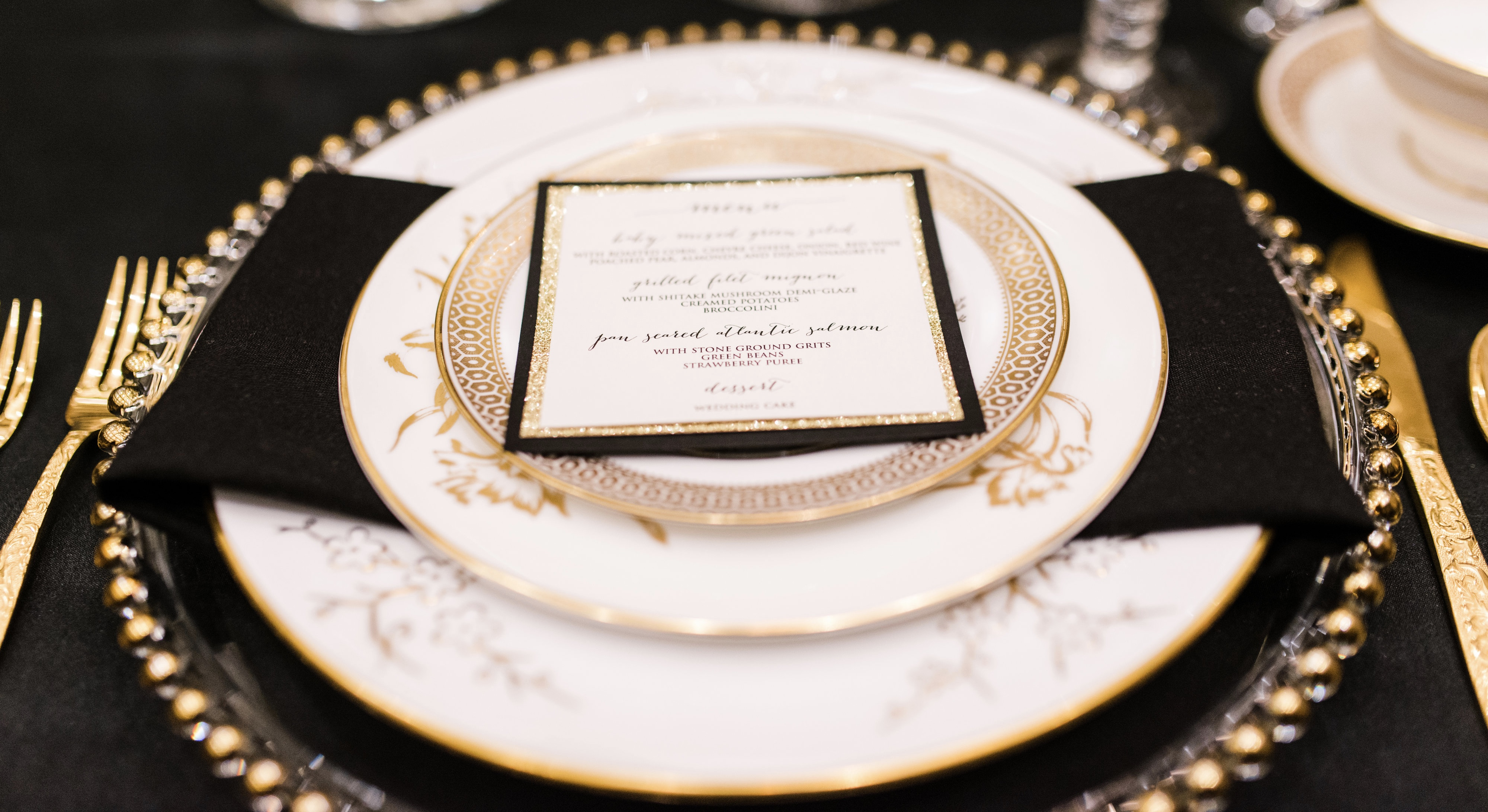 Vintage tableware rental options from Tea and Old Roses at The Harbert Center in Birmingham, Alabama. Our Alabama wedding rentals will be a beautiful addition to your event!