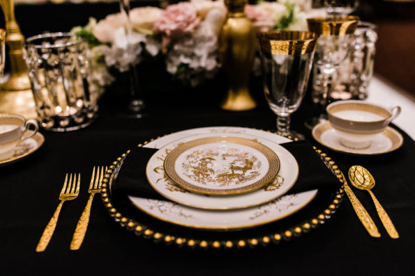 Old Hollywood glamour inspired wedding shoot at The Harbert Center in Birmingham, Alabama featuring vintage china and flatware rental from Tea and Old Roses. You will not find more beautiful wedding rentals in Alabama.