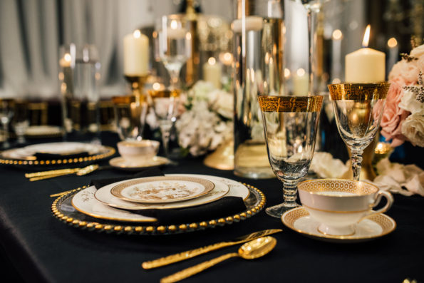 Old Hollywood glamour inspired wedding shoot at The Harbert Center in Birmingham, Alabama featuring vintage china and flatware rental from Tea and Old Roses. You will not find more beautiful wedding rentals in Alabama. Our wedding and event rentals will make your event truly unique!