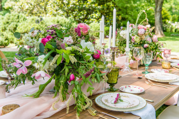 Spring wedding inspiration at Belle Meade Plantation in Nashville, Tennessee featuring Tea and Old Roses vintage china rental. You will not find more beautiful wedding rentals in Alabama. We are available for weddings and events in Alabama, Tennessee, Georgia, Mississippi, and the panhandle of Florida. You will not find more beautiful Nashville wedding rentals.