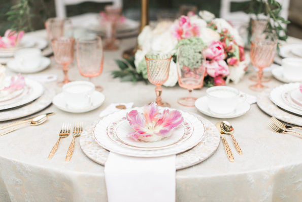 Vintage Alabama wedding rentals from Tea and Old Roses set a beautiful table at Cator Woodford Gardens in Atlanta, Georgia. Alabama brides, Georgia brides, Tennessee brides, and Mississippi brides will love these classic southern settings.