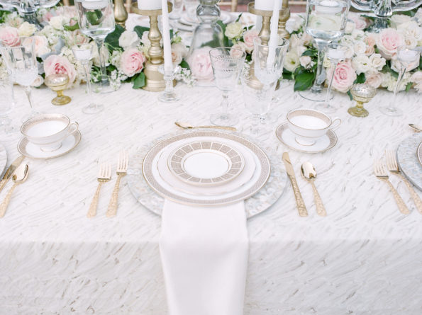 Royal Wedding inspiration featuring Tea and Old Roses vintage china, flatware, and glassware. Our Alabama wedding rentals will add a royal touch to your wedding!