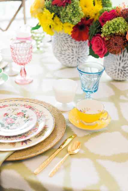 Lovely vintage china rentals, vintage glassware rentals, and vintage gold flatware rentals from Tea and Old Roses vintage wedding rentals in Birmingham, Alabama.