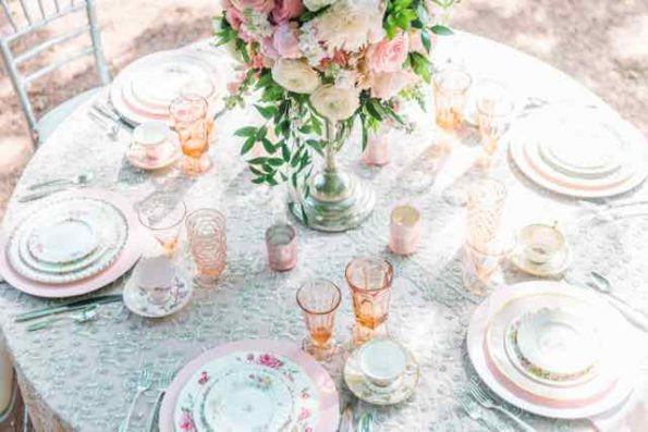Vintage wedding inspiration featuring china rentals, glassware rentals, and flatware rentals from Tea and Old Roses vintage tableware rentals in Alabama.